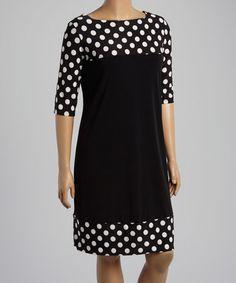 Another great find on #zulily! Black & White Polka Dot Shift Dress - Plus #zulilyfinds
