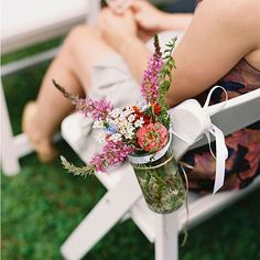 Rustic Mason Jar Aisle Décor - home grown flowers to decorate the aisles