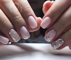 Nageldesign - Nail Art - Nagellack - Nail Polish - Nailart - Nails Nägel How to Make Hair Bows Artic Pale Pink Nails, Pink Sparkle Nails, Pink Sparkles, Glitter Accent Nails, Chunky Glitter Nails, Shellac Nails Glitter, Nude Nails With Glitter, Acrylic Nails, Glitter French Manicure