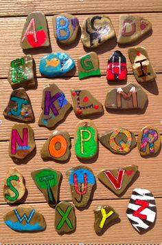 Alphabet Rocks...I know my kids will have fun putting these in order of looking for letters with these fun rocks.