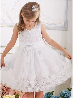 A-Line/Princess Knee-length Flower Girl Dress - Cotton Scoop Neck With Beading/Flower(s)