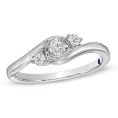 Another possibility for niece's sweet 16 - Cherished Promise Collection™ 1/4 CT. T.W. Diamond Three Stone Promise Ring in 10K White Gold - Zales