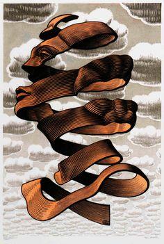 Rind by MC Escher, Lithograph Escher Kunst, Mc Escher Art, Escher Drawings, Art Database, Wood Engraving, Gravure, Op Art, Optical Illusions, Zentangle