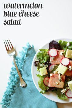Watermelon Blue Cheese Salad with Creamy Lemon Balsamic Vinaigrette — a lovely new way to enjoy summer melons. (via feastandwest.com)