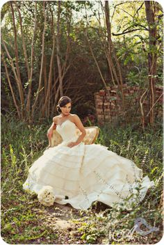"""I like the rustic """"wild"""" edge of the landscape but the sophistication and beauty of the dress and the chair. It's edgy and beautiful. THIS is what I'm going for in a bridal portrait"""