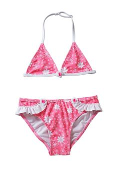 Pink Floral Halter Swimsuit Set for Girls