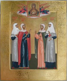 Icon of the grand duchesses (L-R) Olga, Maria, Anastasia, and Tatiana. The icon at the top is Our Lady of the Sign, an icon given to the family in Psov a few months before the revolution.