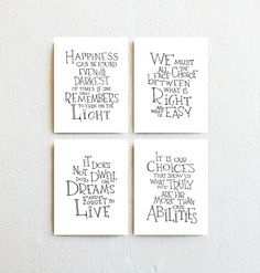 Harry Potter Quotes Print Set 4 - Albus Dumbledore, Inspirational Art Prints, Minimalist Teen Room Decor, Nursery Wall Art, Christmas Gift