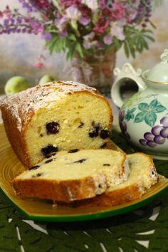 Творожный кекс с голубикой.