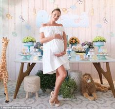 Not long now: Heavily pregnant Victoria's Secret Angel Candice Swanepoel, 27, was treated to a safari-themed baby shower as the birth of her first child, a boy, draws closer