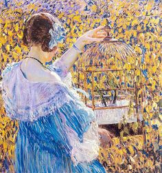 Frederick Carl Frieseke - The Bird Cage  Via: http://colin-vian.tumblr.com/