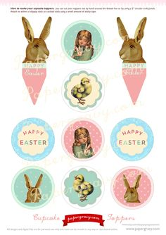 Printable vintage easter gift tags digital paper graphics create the ultimate vintage easter tea party with these beautiful printable diy easter cupcake toppers negle Images