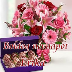 Boldog névnapot Erika - Megaport Media Share Pictures, Animated Gifs, Name Day, Diy And Crafts, Floral Wreath, Wreaths, Birthday, Happy, Decor