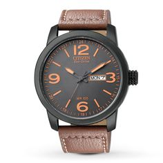 Citizen Eco-Drive Mens Watch - Black Dial w/ Orange - Brown Leather - 100M WR