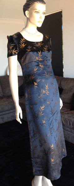 Vintage Minx 60s Chinese WIGGLE Cheongsam MAXI Asian GLAM Evening Dress Small
