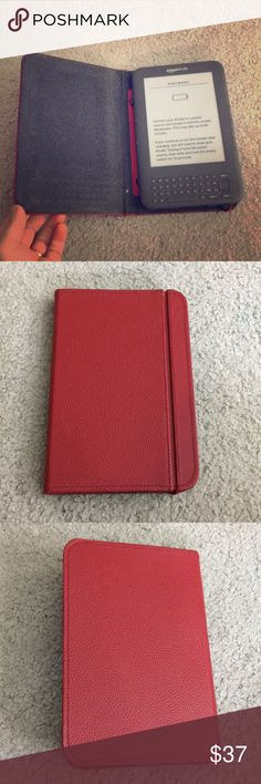 ✨Amazon kindle with red leather case excellent ✨ Amazon Kindle with leather case red with wraparound excellent condition comes without a charger non-smoking home fast delivery at an excellent price get it today amazon kindle Accessories