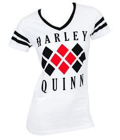 Officially licensed Harley Quinn women's t-shirt featuring the diamond logo on the front. - 50% Cotton/50% Polyester - Soft, Light-weight - DC Comics Officially Licensed Product Size Chart Fitted Wome