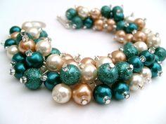 Bridesmaid Jewelry Bridal Jewelry Fall Wedding Teal by KIMMSMITH, $19.00