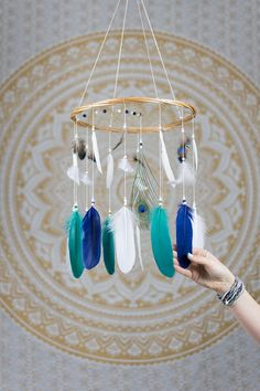 Bohemian Nursery Dreamcatcher Mobile - Navy, Teal and White Mobile - Peacock Mobile, Dream Catcher Nursery Mobile, Boho Chic, Chic Mobile Dream Catcher Nursery, Dream Catcher Mobile, Large Dream Catcher, Whimsical Nursery, Bohemian Nursery, Nursery Decor, Nursery Ideas, Wooden Hoop, Wooden Beads