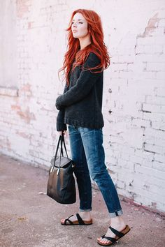 Wearing Anine Bing sweater, Golden Goose jeans, Elizabeth James tote bag (c/o), and Birkenstock sandals