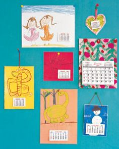get kids to make a calendar for their homes- laminate background art