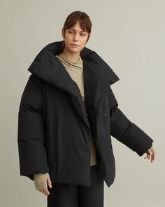 Recycled down jacket with matte finish and oversized collar. Oversized funnel neck Concealed snap front closure Front pockets Hip length Cotton Nylon Model is 178 ft 10 in and is wearing a size S Funnel Neck, Jil Sander, Apothecary, Acne Studios, Marni, Designing Women, Fashion Brands, Raincoat, Normcore