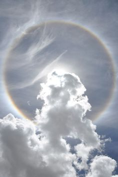 Horizontal background Cirrus ice clouds produce Ice Halo effect when sunlight passing the ice prism at 22 to 50°.