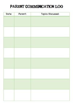 Great way to keep track of emails, phone conversations, and notes between teacher and parents. I will staple inside student folder. Also good for tracking positive notes too! Teaching Special Education, Music Education, Teaching Tools, Teacher Resources, Classroom Organization, Classroom Management, Parent Communication Log, Teacher Forms, Kindergarten