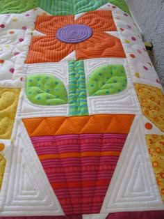 """Pots of Posies"" - pieced and quilted by Meg Marshall The beautiful quilting adds so much to this pretty piece"