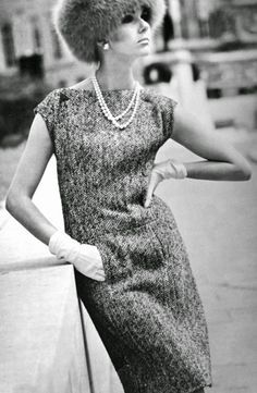 Nicole de Lamargé is wearing a dress by Michael of London, Vogue 1565, in Vogue Pattern Book Summer 1965