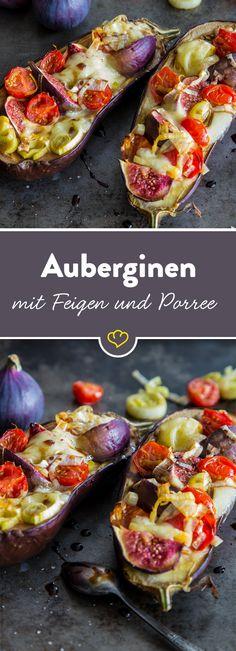 Belege deine Aubergine mit frischen Feigen, Porree, Tomaten und Mozzarella. Back sie und beträufel sie mit einer Essigreduktion. Einfach köstlich.