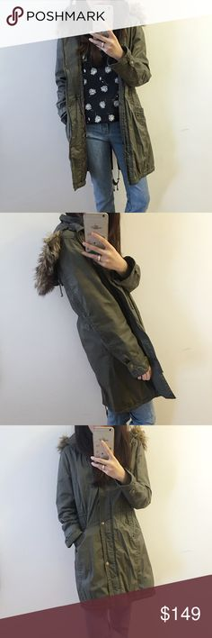Green military hoodie jacket Beautiful military jacket. Looks super chic and skinny with the elastic waist. Facing 100% acrylic backing: 100% polyester   Faux fur hoodie Michael Kors Jackets & Coats