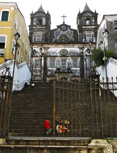 kids playing on the steps of an abandoned church in Salvador, Brazil