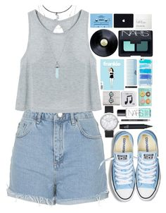 """""""Look Alive, Sunshine"""" by ellac9914 ❤ liked on Polyvore featuring Topshop, Converse, CASSETTE, NARS Cosmetics, Elwood, Kate Spade, Happy Plugs and Barry M"""