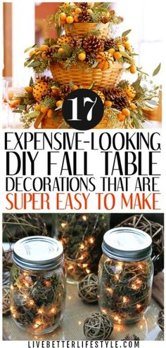 If you are on a budget, you definitely want to try these DIY Fall Table Decorations. Definitely pinning for later! During a seasonal time like this, inspirations will be everywhere. This time I want to share some DIY Fall table decorations for your home! Fall Table Centerpieces, Decoration Table, Fall Table Decor Diy, Centrepieces, Thanksgiving Diy, Thanksgiving Decorations, Fall Church Decorations, Fall Table Settings, Fun Diy Crafts