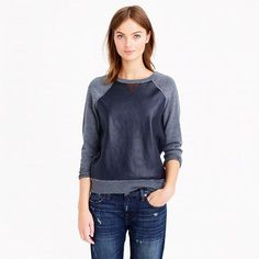 Merino wool leather front sweatshirt