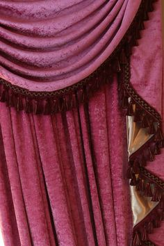 pink chenille flip pole swag valance draperies