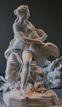 Leda and the Swan - sculpture by Jean Thierry, marble