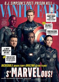 Paul Bettany as Vision, Chris Evans as Captain America, Jeremy Renner as Hawkeye, Don Cheadle as War Machine, and Evangeline Lilly as Wasp. (New Avengers: Infinity War Vanity Fair Magazine Covers) Marvel Dc, Marvel Heroes, Mundo Marvel, Univers Marvel, Dc Movies, Marvel Movies, Superhero Movies, Comic Movies, Journal Du Geek