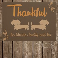 """""""Thankful for friends, family and fur"""" seasonal doormat in rich fall tones from TheSmootheStore.com. The question is, will it be apparent to guests that you are a dachshund lover when they see the rug or will the hear the wiener dog door bell (barking) first?"""