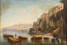 LA CASA DEL TASSO DALLA MARINA DI SORRENTO by Giacinto Gigante (Italian 1806–1876)