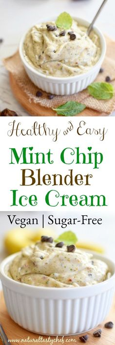 A super healthy vegan ice cream that's quick and easy to make. No ice cream maker required. This dairy free treat is also naturally sweetened.  #veganicecream, #vegan, #sugarfree, #naturallysweetened, #nosugar, #dairyfree Sugar Free Desserts, Healthy Dessert Recipes, Vegan Snacks, Whole Food Recipes, Snack Recipes, Easy Recipes, Dairy Free Ice Cream, Vegan Ice Cream, Mint Chip Ice Cream