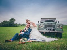 The Land Rover Series 3 fitted in perfectly with the couple's wedding theme.