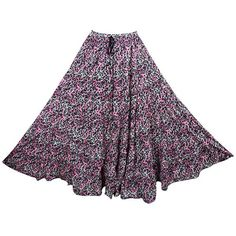 Mogul Interior Womans Long Skirt Printed Glowing Persona Pink Passion... (67.950 COP) ❤ liked on Polyvore featuring skirts, skater skirt, long gypsy skirt, circle skirts, long pink skirt and pink maxi skirt