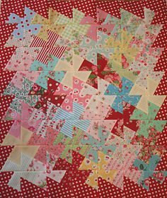 "Pinwheel quilt tutorial using the Twister. Previous pinner made template using Martha Thompson's book ""Square Dance."" FUN quilt to make! Scrappy Quilts, Mini Quilts, Baby Quilts, Quilting Tutorials, Quilting Projects, Quilting Designs, Twister Quilts, Pinwheel Quilt, Doll Quilt"
