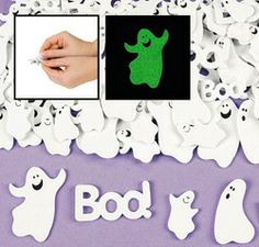 Fabulous Glow-In-The-Dark Self-Adhesive Foam Ghost Shapes :  They glow! Assorted styles. (80+ pcs. per set) 2.5 - 5cm