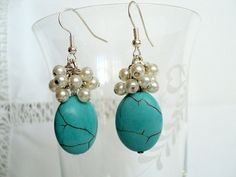 Natural stone turquoise earring, natural stone earring, glass pearl earring, gift earring on Etsy, $14.80