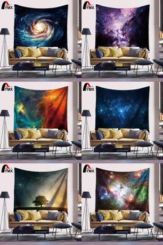 [Visit to Buy] Space Starry Sky Deep Outer Space Nebula and Galaxy in the Universe Pattern Tapestry Wall Hanging Large for Bedroom Living Room  #Advertisement