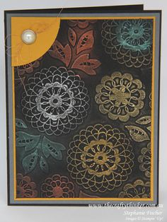 handmade card from  thecraftythinker ... Lovely Lace embossing folder on black background ... metallic gilding wax rubbed on the embossed doilies ... beautiful!