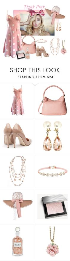 """Think Pink"" by glitterlady4 ❤ liked on Polyvore featuring Bill Blass, Cole Haan, Rupert Sanderson, Valentin Magro, Karine Sultan, Betsey Johnson, Burberry, Mullein & Sparrow and 1928"